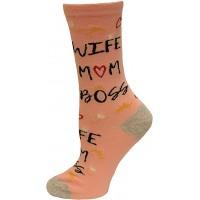 K.Bell Women's Wife Mom Boss Crew Socks 1 Pair, Pink, Women's 4-10 Shoe
