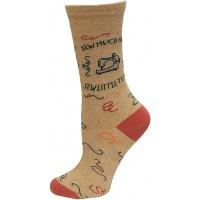 K.Bell Women's Sew Much Fabric! Crew Socks 1 Pair, Oatmeal Heather, Women's 4-10 Shoe