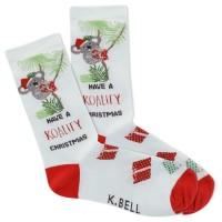 K.Bell Women's Koality Christmas Crew Socks 1 Pair, Light Blue, Women's 4-10 Shoe