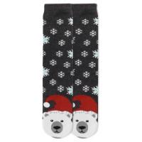 K.Bell Women's Polar Bear Tube Slipper Socks 1 Pair, Charcoal Heather, Women's 4-10 Shoe