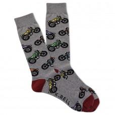 K. Bell Men's Moto Crew Socks 1 Pair, Charcoal Heather, Men's 8.5-12 Shoe