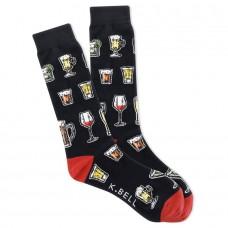 K. Bell Men's Mixed Drink Dreams Crew Socks 1 Pair, Black, Men's 8.5-12 Shoe