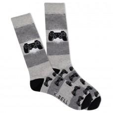 K. Bell Men's Born to Game Crew Socks 1 Pair, Grey Heather, Men's 8.5-12 Shoe