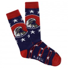K. Bell Men's Bald Eagle Crew Socks - American Made 1 Pair, Navy, Men's 8.5-12 Shoe