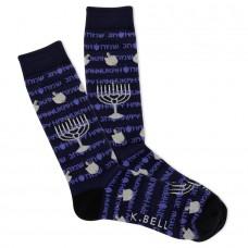 K. Bell Men's Festival of Lights Crew Socks 1 Pair, Navy, Men's 8.5-12 Shoe