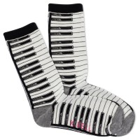 K.Bell Women's Piano Crew Socks 1 Pair, Ivory, Women's 4-10 Shoe