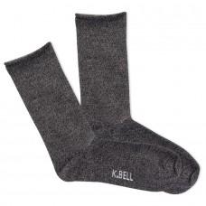 K.Bell Women's Marl Roll Top Crew Socks 1 Pair, Black Marl, Women's 4-10 Shoe