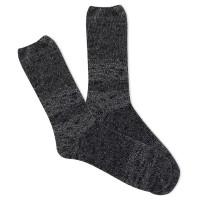K.Bell Women's Slub Marl Crew Socks 1 Pair, Black Marl, Women's 4-10 Shoe