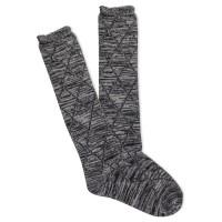 K.Bell Women's Scallop Random Feed Diamond Knee High Socks 1 Pair, Black, Women's 4-10 Shoe