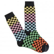 K. Bell Men's Colorblock Checkers Crew Socks 1 Pair, Black, Men's 8.5-12 Shoe