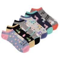 K.Bell Women's Llama Queen 6 Pair Pack No Show Socks, Assorted, Women's 4-10 Shoe
