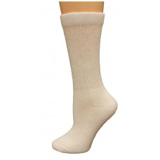Carolina Ultimate Diabetic Non-Binding Crew Socks 2 Pair, White, Women's 6-9