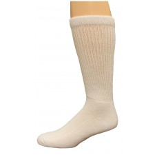 Carolina Ultimate Diabetic Non-Binding Crew Socks 2 Pair, White, Men's 9-13