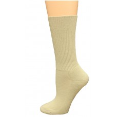 Carolina Ultimate Diabetic Non-Binding Tube Crew Socks 2 Pair, Khaki, Women's 6-9