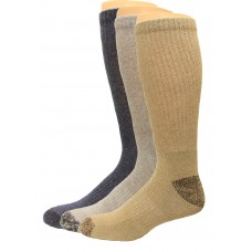 Carolina Ultimate Crew Work Socks 3 Pair, Grey/Navy/Tan, Men's 9-13