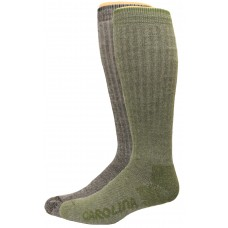 Carolion Ultimate Outdoor Obsession Merino Blend Crew Socks 2 Pair, Black/Olive, Men's 9-13