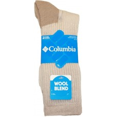 Columbia Wool/Acrylic Blend Boot Crew, 2 Pair, M10-13, Khaki