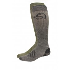 Ducks Unlimited Full Cushion Merino Tall Boot Socks, 2 Pair, Olive/Blk, Large, W 9-12 / M 9-13