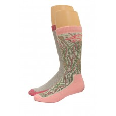 Ducks Unlimited Ladies Wool Blend Boot Sock Socks, 2 Pair, Pink Camo, Medium, W 6-9 / M 4-9