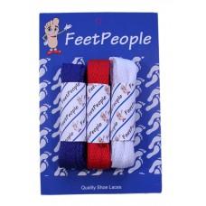FeetPeople Flat Lace Bundle, 3 Pr, Patriots