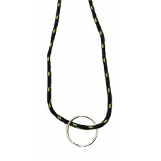 FeetPeople Round Lace Key Chain, Black With Neon Yellow Chip