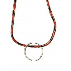 FeetPeople Round Lace Key Chain, Black And Red Metallic