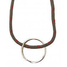 FeetPeople Round Lace Key Chain, Grey With Red Chip