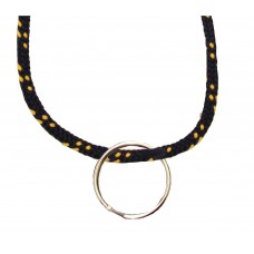 FeetPeople Round Lace Key Chain, Navy With Yellow Chip