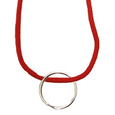 FeetPeople Round Lace Key Chain, Red