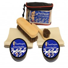FeetPeople Deluxe Leather Care Kit with Travel Bag, Navy