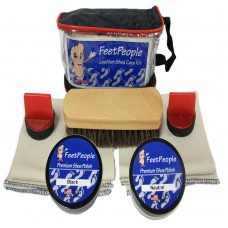 FeetPeople Premium Leather Care Kit with Travel Bag, Black & Neutral