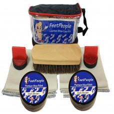 FeetPeople Premium Leather Care Kit with Travel Bag, Dark Brown