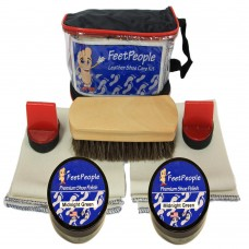 FeetPeople Premium Leather Care Kit with Travel Bag, Midnight Green