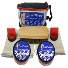 FeetPeople Premium Leather Care Kit with Travel Bag, Red/Oxblood