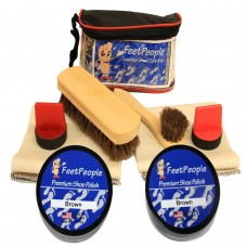 FeetPeople Ultimate Leather Care Kit with Travel Bag, Brown