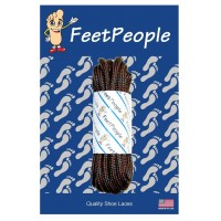 FeetPeople Strong Round Laces, Brown Reinforced w/ Black Kevlar