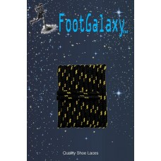 FootGalaxy High Quality Round Laces For Boots And Shoes, Black With Gold Chip