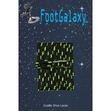 FootGalaxy High Quality Round Laces For Boots And Shoes, Black With Neon Yellow Chip