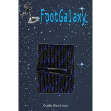 FootGalaxy High Quality Round Laces For Boots And Shoes, Black With Royal Chip