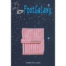 FootGalaxy High Quality Round Laces For Boots And Shoes, Pink With White Chip