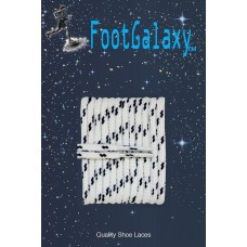 FootGalaxy High Quality Round Laces For Boots And Shoes, White With Black Chip