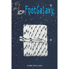 FootGalaxy High Quality Round Laces For Boots And Shoes, White With Navy Chip
