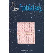 FootGalaxy High Quality Round Laces For Boots And Shoes, Pink And White Stripe