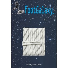 FootGalaxy High Quality Round Laces For Boots And Shoes, White With Grey Chip