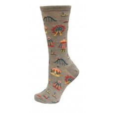 HotSox Carnival Rides Socks, Grey Heather, 1 Pair, Women Shoe 4-10