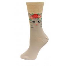 HotSox Cat Flower Crown Socks, Natural Melange, 1 Pair, Women Shoe 4-10