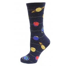 HotSox Glow In The Dark Solar System Socks, Navy, 1 Pair, Women Shoe 4-10