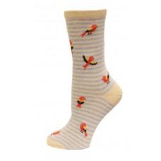 HotSox Bird On Stripe Socks, Natural Melange, 1 Pair, Women Shoe 4-10