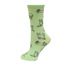 HotSox Cat Outline Socks, Mint , 1 Pair, Women Shoe 4-10