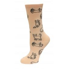 HotSox Cat Outline Socks, Blush, 1 Pair, Women Shoe 4-10